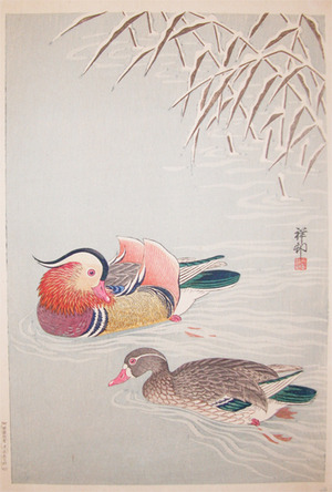Shoson: Two Mandarin Ducks - Ronin Gallery