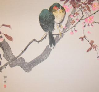 静湖: Two Birds and Cherry Blossoms - Ronin Gallery