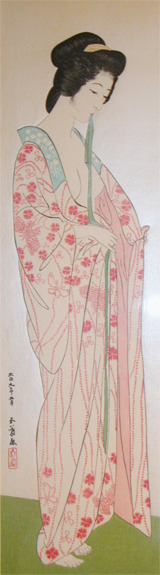 Hashiguchi Goyo: Woman with Sash - Ronin Gallery