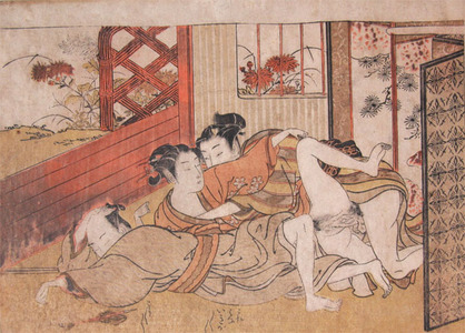 Isoda Koryusai: Two Men and a Woman - Ronin Gallery