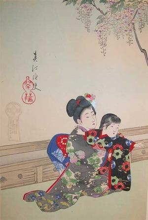 Shuntei: Sisters Under Wisteria Tree - Ronin Gallery