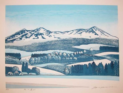 Hagiwara, Tsuneyoshi: Mountain Range in Winter - Ronin Gallery