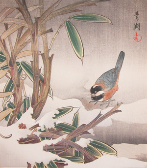 静湖: Bird and Bamboo in Snow - Ronin Gallery