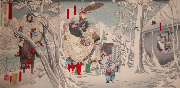 Tsukioka Yoshitoshi: Gentoku Visiting Komei in Snow - Ronin Gallery