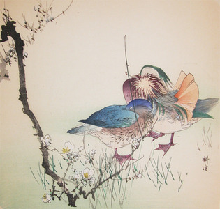 Tsukioka Kogyo: Two Mandarin Ducks and Spring Flowers - Ronin Gallery