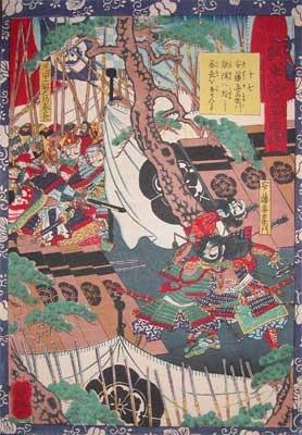 Utagawa Yoshitsuya: Ando Kiemon Slipping into the Enemy's Camp - Ronin Gallery