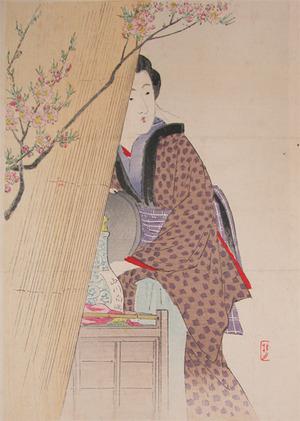 武内桂舟: Waitress at Sweet Sake Shop - Ronin Gallery