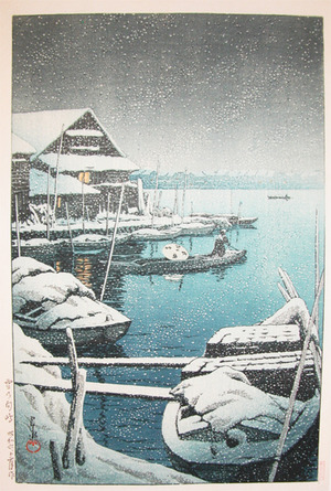 川瀬巴水: Snow at Mukojima - Ronin Gallery