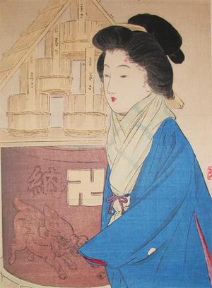 武内桂舟: Visiting Temple in the Winter - Ronin Gallery