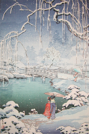 Tsuchiya Koitsu: Spring Snow at Maruyama Park, Kyoto - Ronin Gallery