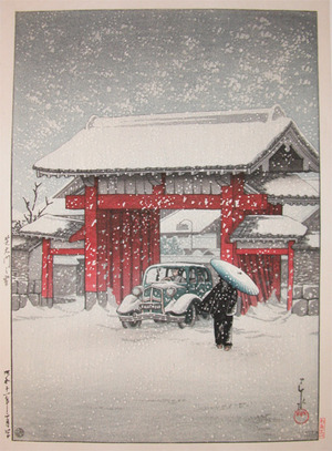 川瀬巴水: Daimon Gate, Shiba in snow - Ronin Gallery