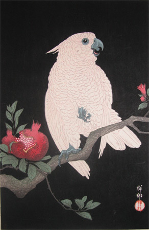 Shoson: White Parrot and Pomegranate - Ronin Gallery