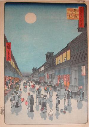Utagawa Hiroshige: Night View of Saruwaka-machi - Ronin Gallery