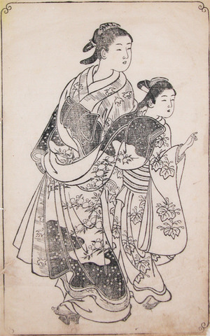 Nishikawa Sukenobu: High Courtesan and Attendant - Ronin Gallery
