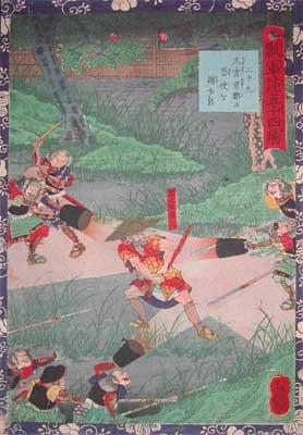 歌川芳艶: Hisayoshi Capturing a Spy from Kyoto - Ronin Gallery