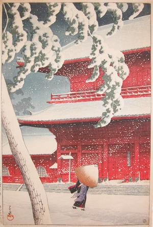 Kawase Hasui: Zojo Temple in Snow, Shiba - Ronin Gallery