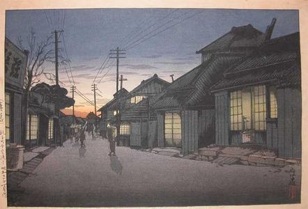 風光礼讃: Twilight at Imamiya Street, Choshi - Ronin Gallery