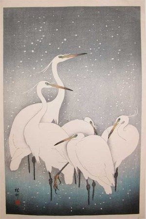 Shoson: Egrets in Snow - Ronin Gallery
