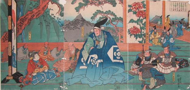 歌川国芳: Hako-o-maru and Kudo Suketsune at Hikone - Ronin Gallery