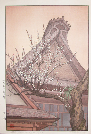 Yoshida Toshi: White Plum in the Farmyard - Ronin Gallery