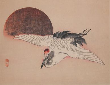 Kono Bairei: Crane and Setting Sun - Ronin Gallery