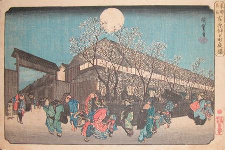 歌川広重: Night Cherry Blossoms at Nakanomachi, Yoshiwara - Ronin Gallery