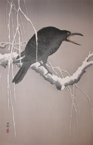 Koson: Cawing Crow on Snow Covered Branch - Ronin Gallery