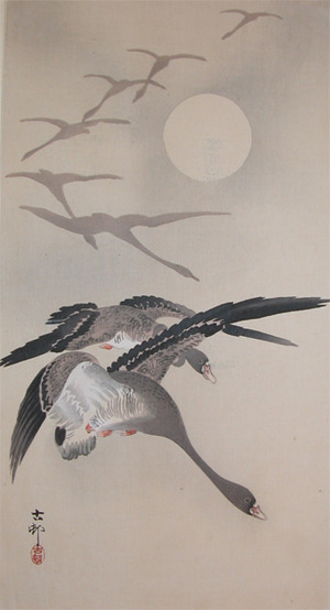 Koson: Eight White Fronted Geese in Flight - Ronin Gallery