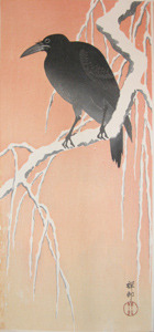 Shoson: Crow on Snowy Willow Branch - Ronin Gallery
