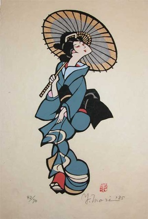 Mori Yoshitoshi: Bijin with Umbrella - Ronin Gallery