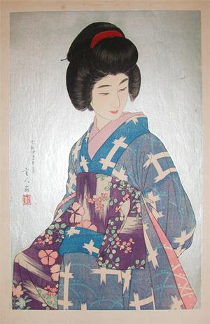 Kotondo: Woman in Blue Kimono - Ronin Gallery