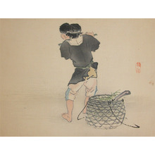 Kono Bairei: Boy with Flute - Ronin Gallery
