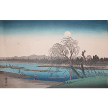 Utagawa Hiroshige: Moon Over River - Ronin Gallery