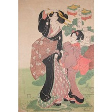 菊川英山: Mother and Child In the Garden - Ronin Gallery