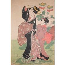 Kikugawa Eizan: Mother and Child In the Garden - Ronin Gallery