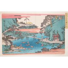 歌川広重: Swimming at Takinokawa at Oji - Ronin Gallery