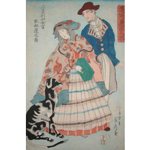 Utagawa Sadahide: American Lady with Accordian - Ronin Gallery