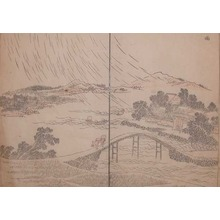 葛飾北斎: Rain Storm over a Bridge - Ronin Gallery