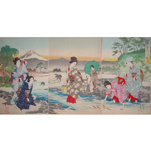 Toyohara Chikanobu: Catching Sweetfish in the Tama River - Ronin Gallery