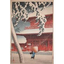 Kawase Hasui: Zojo Temple in Snow at Shiba - Ronin Gallery