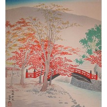 Tokuriki: Red Shrine Bridge, Takao in Autumn - Ronin Gallery