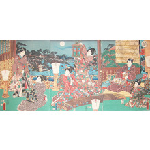 Utagawa Kuniteru: Moon at Higashiyama - Ronin Gallery