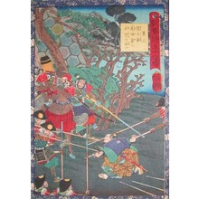 歌川芳艶: Sarunosuke Asking to Serve the Oda Family - Ronin Gallery