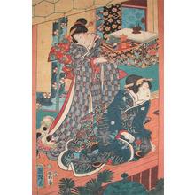 Utagawa Kuniteru: Beautiful Women and Dog - Ronin Gallery