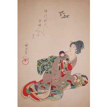 Toyohara Chikanobu: Bijin Holding a Baby Doll - Ronin Gallery