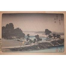 Utagawa Hiroshige: Night Rain at Azuma Woods - Ronin Gallery