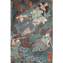 Utagawa Kuniyoshi: Revenge Attack at the Rapids - Ronin Gallery