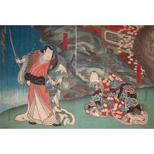 Sadanobu: Matsunaga Daizen & Princess Yukihime at Waterf - Ronin Gallery