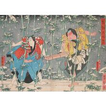 Utagawa Yoshitaki: Two Actors in Snow - Ronin Gallery