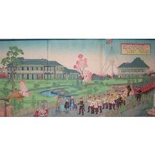 三代目歌川広重: Plan of English Legation at Bluff Island in Yokoha - Ronin Gallery